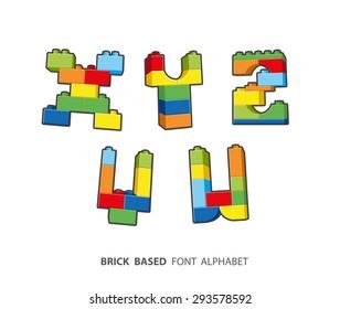 Alphabet created from playing bricks.