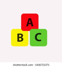 Alphabet cubes with A,B,C letters in flat. ABC blocks flat icon.vector. eps10