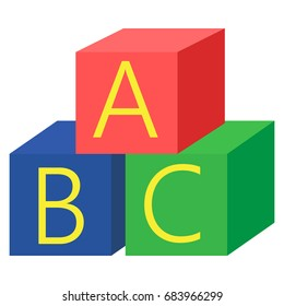 Alphabet cubes with A,B,C letters icon, vector illustration flat style design isolated on white. Colorful graphics