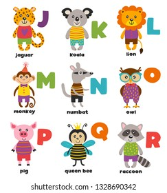 alphabet with cute animals J to R - vector illustration, eps