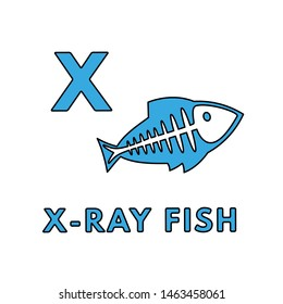 Alphabet with cute cartoon animals isolated on white background. Flashcard for children education. Vector illustration of X-ray fish and letter X