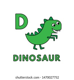 Alphabet with cute cartoon animals isolated on white background. Flashcard for children education. Vector illustration of dinosaur and letter D