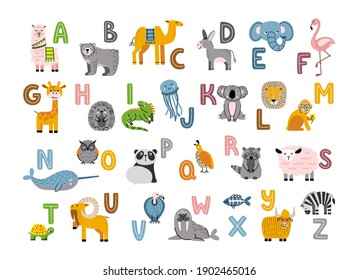 Alphabet with cute and funny animals. Cartoon zoo with letters for kids education. Cartoon vector illustration.