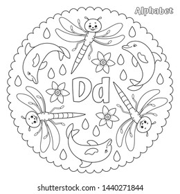 Alphabet D letter coloring page mandala with dragonfly, dolphin, daffodil, drops. Vector Illustration.