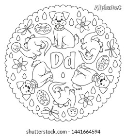 Alphabet D letter coloring page mandala with dog, dinosaur, donut, dragonfly, daffodil, drops. Vector Illustration.