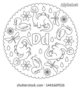Alphabet D letter coloring page mandala with dinosaur, daisy, duck, dragonfly, daffodil, drops. Vector Illustration.