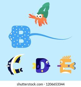 Alphabet design of marine animals from A-E.
