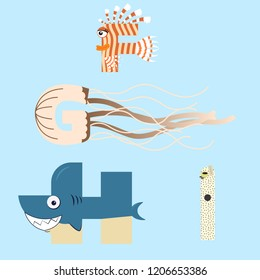 Alphabet design of marine animals from F-I.