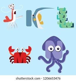 Alphabet design of marine animals from J-N.
