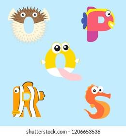 Alphabet design of marine animals from O-S.