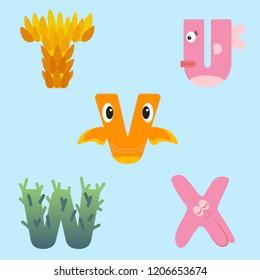 Alphabet design of marine animals from T-X.