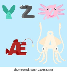 Alphabet design of marine animals from Y-Z and special Danish, Norwegian and Swedish alphabets.