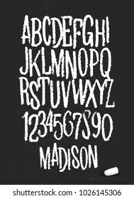 Alphabet drawing with chalk on chalkboard vector