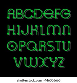 Alphabet,  electronic green letters on a black background
