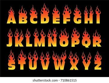alphabet fire letter fonts, flame type, set fonts flames vector collection - fire alphabet letters design illustration