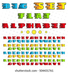 Alphabet in a flat style. Bright, saturated colors. For the design, decoration, printing on paper, cloth