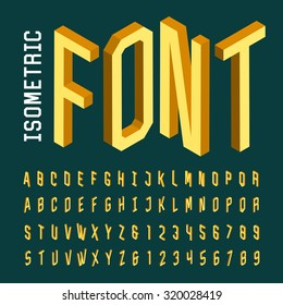 Alphabet font. 3D isometric letters, numbers and symbols. Three-Dimensional stock vector typeset for headlines, posters etc.
