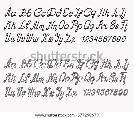 alphabet font black white different styles stock vector royalty