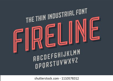 Alphabet and font Fire Line. Bold, regular and medium uppercase letters. Strong trendy industrial inline condensed font for creative design, advertising, typographic. Vector Illustration