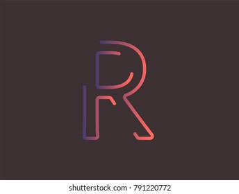 Alphabet font letter R vector, Modern dynamic flat design with brilliant colorful gradient smooth color for your unique elements design ; logo, corporate identity, application, creative poster & more