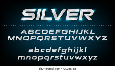Alphabet font. Metallic, silver effect italic letters on a dark background. alphabet vector typeface glowing text effect. ABC, Lowercase and uppercase letters