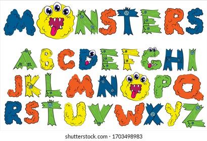 Alphabet font  MONSTER in Cartoon style. Funny monster letter set.  Children's alphabet for Halloween Vector illustration.