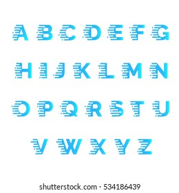 Alphabet, font with motion effect. Speed typeface. Modern typography