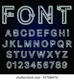 Alphabet font template. Decorative letters and numbers connection dots design. Vector illustration.