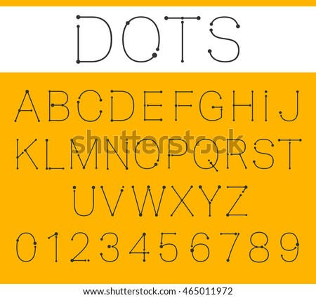 Alphabet Font Template Letters Numbers Connection Stock Vector