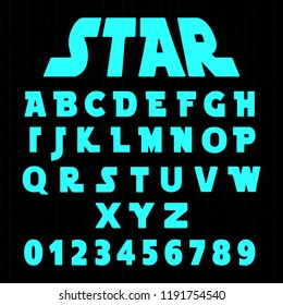 Alphabet font template. Set of letters and numbers futuristic design. Vector illustration.