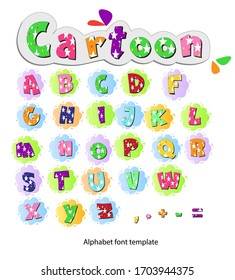 Alphabet font template. Set of letters design with cartoon star pattern Vector illustration of cartoon fonts