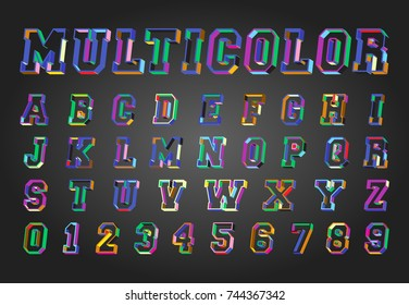 Alphabet font template. Set of letters and numbers multicolor design. Vector illustration.