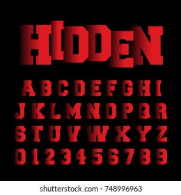 Alphabet font template. Set of letters and numbers hidden design. Vector illustration.