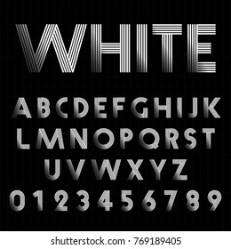 Alphabet font template. Set of letters and numbers line design. Vector illustration.