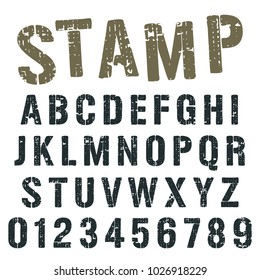 Alphabet font template. Vintage letters and numbers stamp army design. Vector illustration.