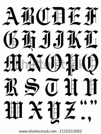 Alphabet Fonts Gothic Tribal Designs Set Stock Vector (Royalty