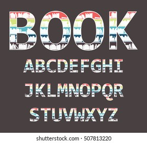 The alphabet in the form of shelves with books.
