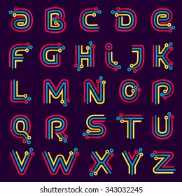 Alphabet formed by electric line. Font style, vector design template elements for your application or corporate identity.