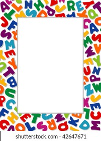Alphabet Frame, Copy space for education, kindergarten, nursery school, back to school announcements, posters, fliers, stationery, scrapbooks, albums. White Background. EPS8 compatible.