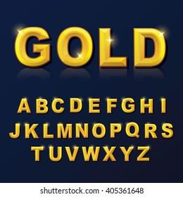 Alphabet gold color style set