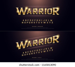 Alphabet golden metallic and effect designs for logo, Poster, Invitation. Exclusive Warrior Gold Letters Typography regular font digital and sport concept. vector illustration