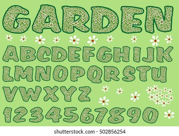 Alphabet in green garden design. Capital letters and numbers decorated with floral pattern, bold font.