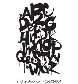 Alphabet. Hand drawn graffiti letters
