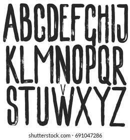 Alphabet hand drawn graphic paint ink art brush texture strong letters set
