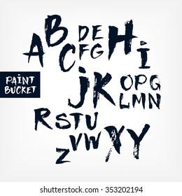Alphabet hand written letters. Dry brush style lettering