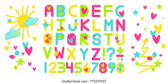 Alphabet with hearts. Children's font in the cartoon style, pencil drawing, like kid`s drawn an alphabet with hearts.. Like child`s drawn colorful ABC. Set of like kid`s painting letters.