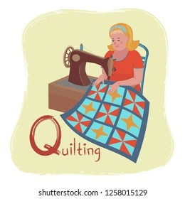Alphabet Hobbies Letter Q Quilting Cheerful Stock Vector Royalty Free 1258015129