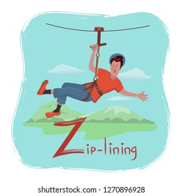 Alphabet Hobbies. Letter Z  - Zip-lining Cheerful man is descending on a rope at an attraction Zipline. Vector illustration with texture in cartoon style.