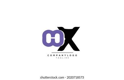 Alphabet hx , xh , h , x   initial Letter Monogram Icon Logo vector illustration