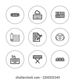 Alphabet icon set. collection of 9 outline alphabet icons with brackets, kappa, keyboard icons. editable icons.